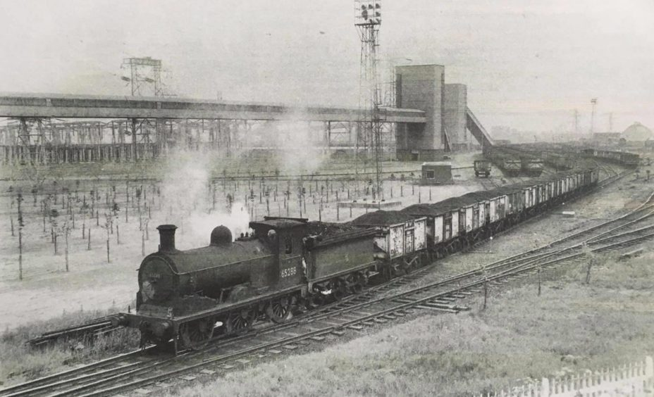 A steam train delivers coal to Longannet in 1966.