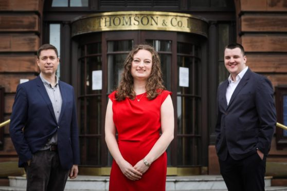 (L to R): The Election Hub Live team of David Mac Dougall, Rachel Amery and Finlay Jack.