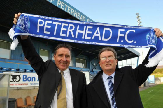 Jim McInally with Peterhead chairman Rodger Morrison when he was appointed in 2011.
