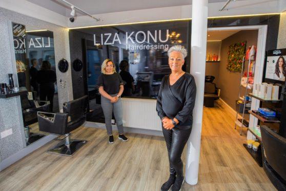 Liza Konu with Cody Reid at Liza Konu Hairdressing, Princes Street, Perth.