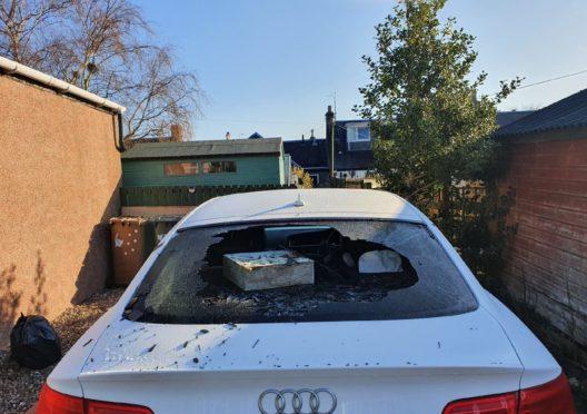 Vandalised audi in Tayport