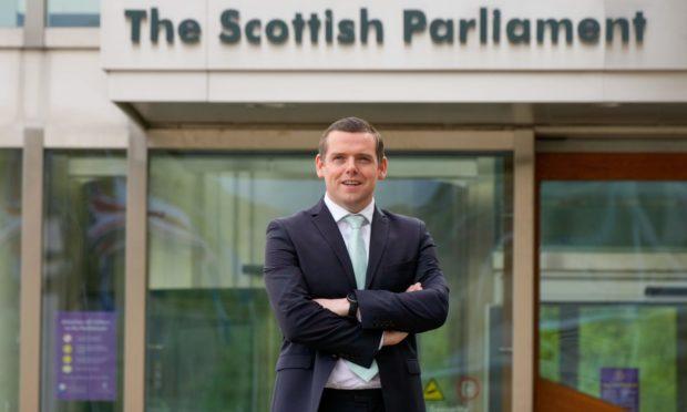 Scottish Conservative & Unionist Party Leader Douglas Ross photographed outside the Scottish Parliament building.