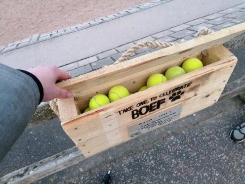 Tennis balls Aberdeen beach