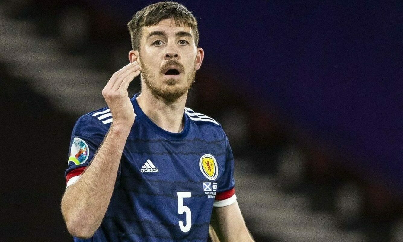Aberdeen signing Declan Gallagher in action for Scotland during the Euro 2020 play-off match against Israel.