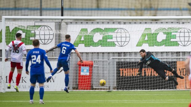 Airdrie's Callum Gallagher (not pictured) knocks on a corner to make it 1-0.
