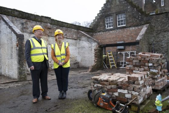 Before the work began, director of Hospitalfield Lucy Byatt and George Dunlop, vice chairman of the Aberbrothock Trust, one of the organisations that donated to the Future Plan project.