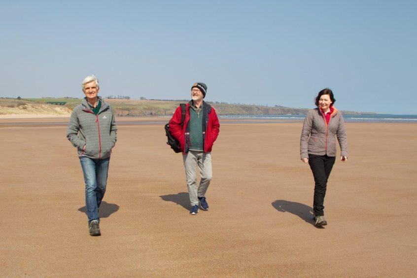 Andrew Matthews, Andrew Gauldie and Jillian McEwan of LBCP on the Lunan Bay sands.
