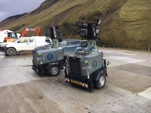Mobile lights vehicles parked in Glen Tilt