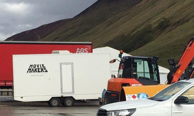 Film studio trailers parked in Glen Tilt