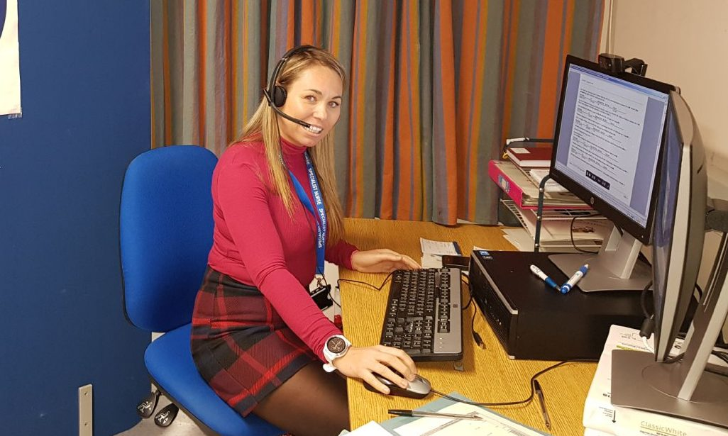 Specialist nurse Charlene Campbell using the Near Me video consultation system.
