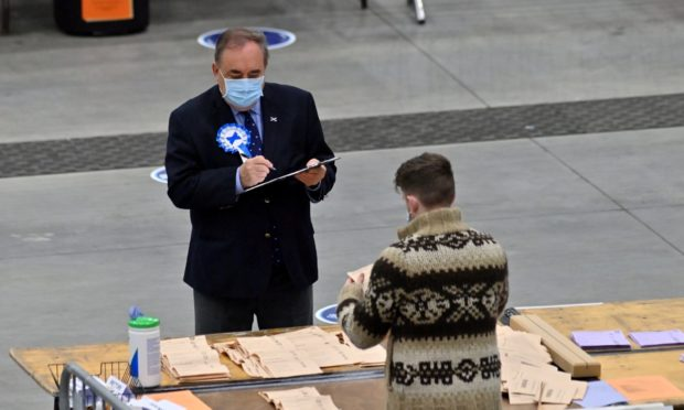 Alex Salmond at P&J Live during vote counting yesterday