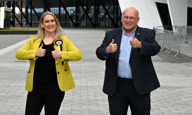 New Banffshire And Buchan Coast SNP MSP, Karen Adam, with her father, Len Mellis