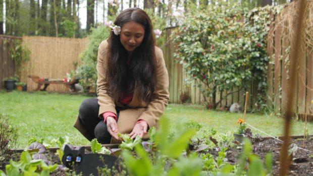Dina Watt in her garden.