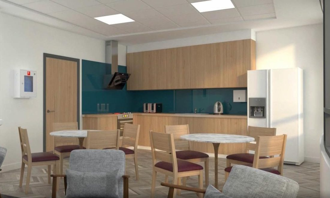 A render of one of the kitchen/ dining areas in the new hospitals.