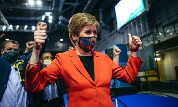 Nicola Sturgeon celebrating with her campaign team in Glasgow after the results on Friday.