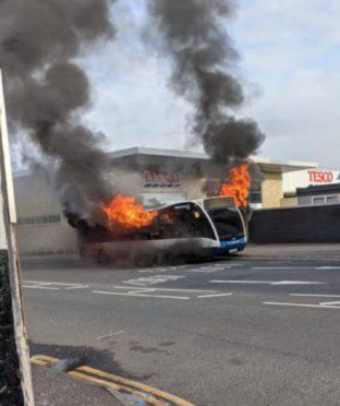 Bus on fire in Dunfermline, Fife