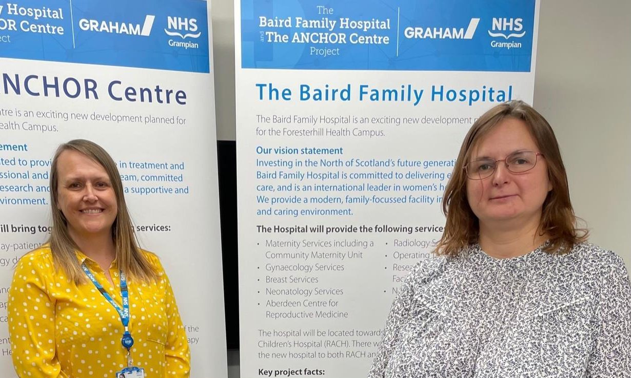 Gail Thomson and Julie Anderson, deputy project directors on the Baird Family Hospital and Anchor Centre project.