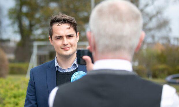 Braden Davy is interviewed during the 2021 Scottish Parliament election.