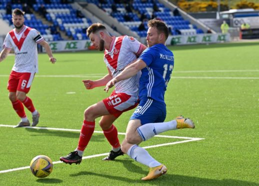 Airdrieonians' Scott Walker and Cove's Rory McAllister.