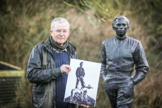 David Annand with his statue of racing driver Jim Clark and his proposal for a statue of Billy Mackenzie.