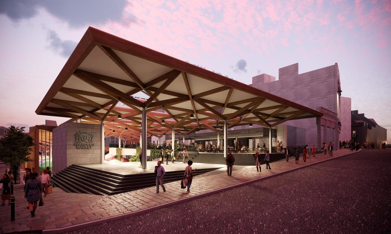 Concept images released by Aberdeen City Council of the redeveloped Market Street site.
