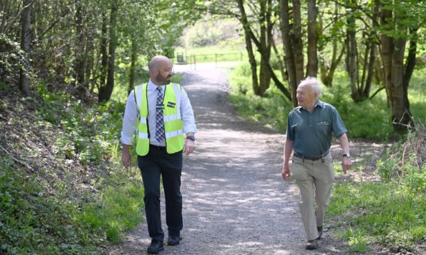 Pictured are Morrisons Store Manager Stuart Aitken and Banchory Paths' David Culshaw on the new path from the Deeside Way to Morrisons Supermarket in Banchory.
