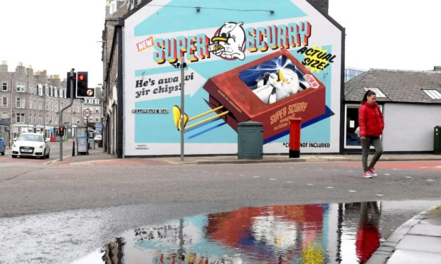 The Super Scurry NuArt piece in Willowbank Road, Aberdeen