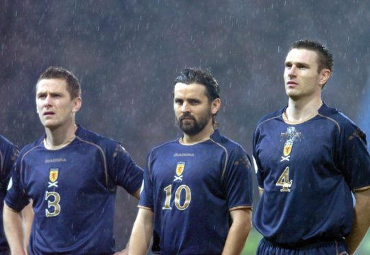 Paul Hartley lines up for Scotland.