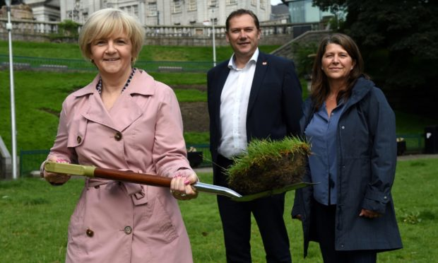 Council leader Jenny Laing, with then-co-leader Douglas Lumsden and capital convener Marie Boulton.