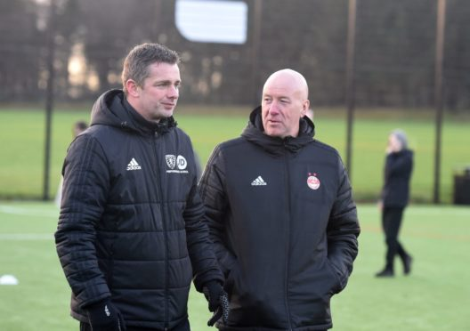 Performance School head coach Stuart Glennie, left, with Aberdeen head of youth development Neil Simpson