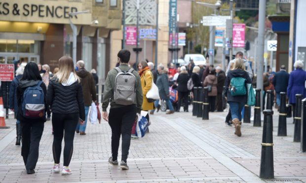 Shoppers in Inverness City Centre