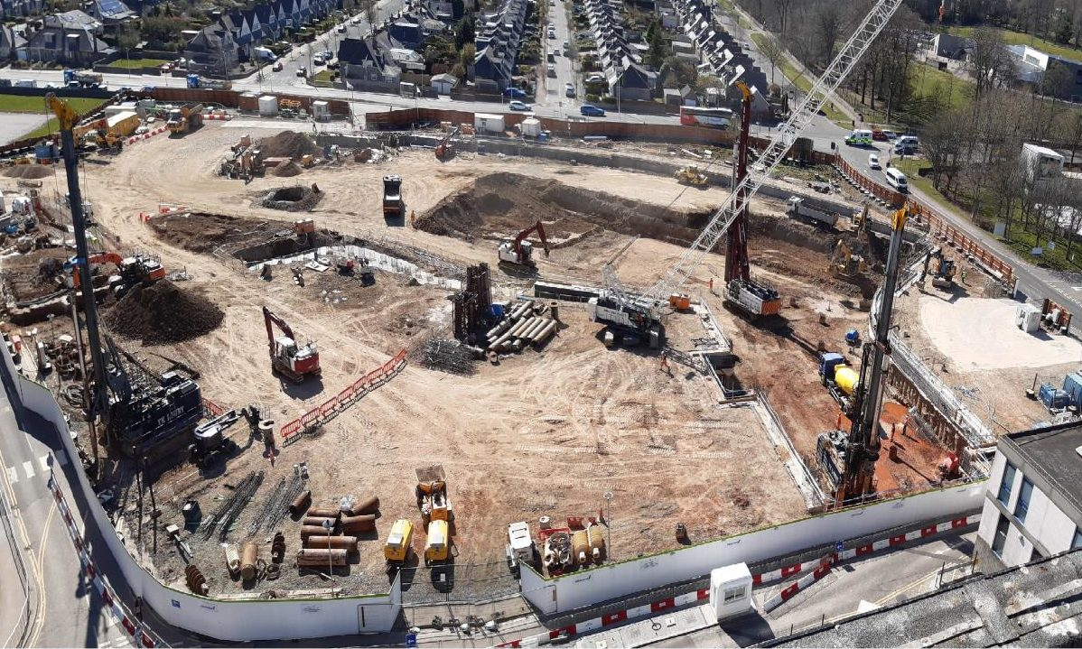 An aerial view of the hospital construction site.
