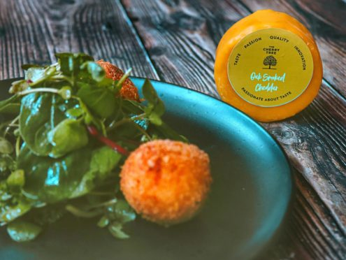 Hot garlic and smoked cheese croquettes