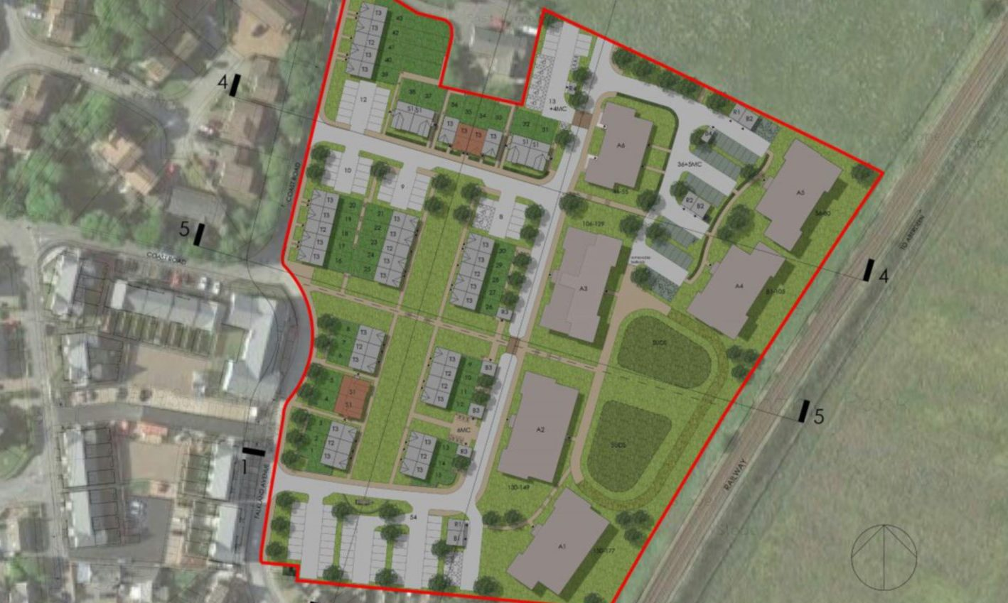 A diagram outlines where the houses at Stationfields could be construction.