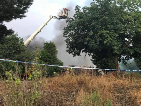 Fire at the Mill O' Mains community pavilion