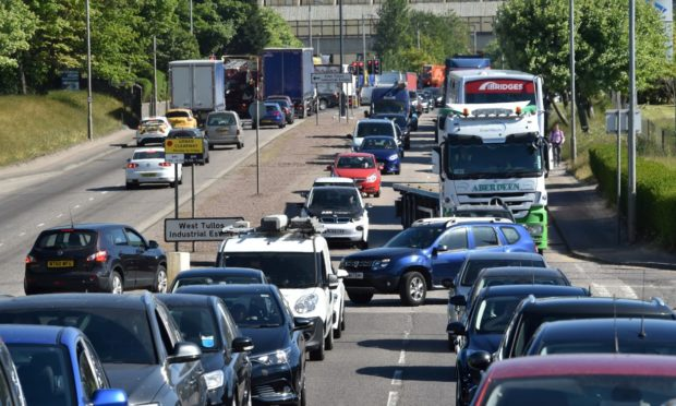Huge tailbacks on Wellington Road when West Tullos Road was closed for roadworks in 2018