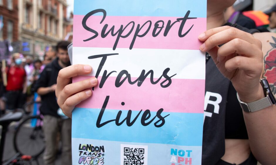 Someone holding a 'Support Trans Lives' poster