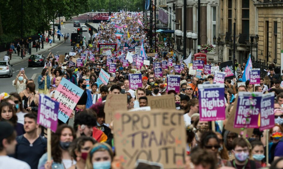 Thousands of people lining the street at a Trans Pride march in London