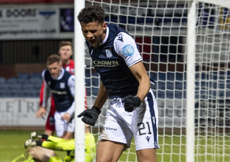 Osman Sow celebrates his first Dundee goal.