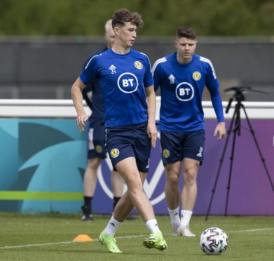 Jack Hendry during a Scotland training session at Rockliffe Park.