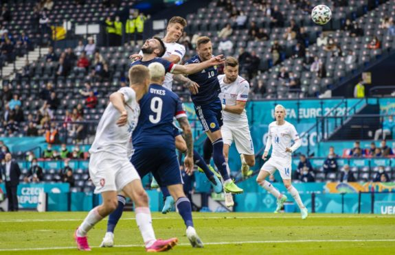 Patrick Schick gets above the Scotland defence to head Czech Republic in front.