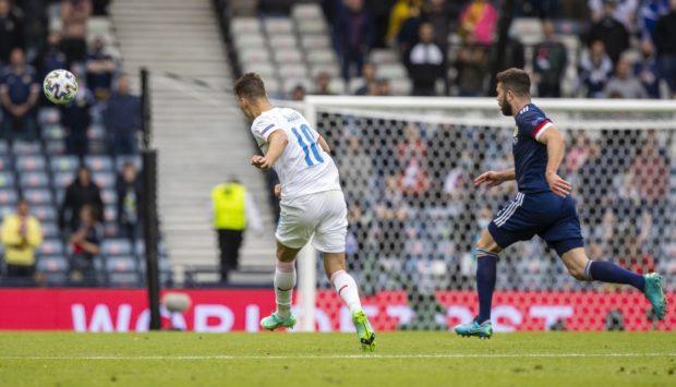 Scotland Czech Republic: Patrick Schick beats Scotland goalkeeper David Marshall from just inside the hosts' half.