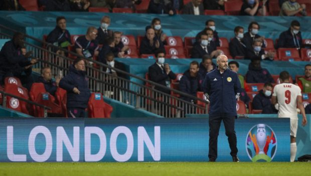 Scotland manager Steve Clarke on the touchline at Wembley.