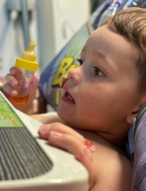 Four-year-old Oaklié Boss in Glasgow Queen Elizabeth Hospital.