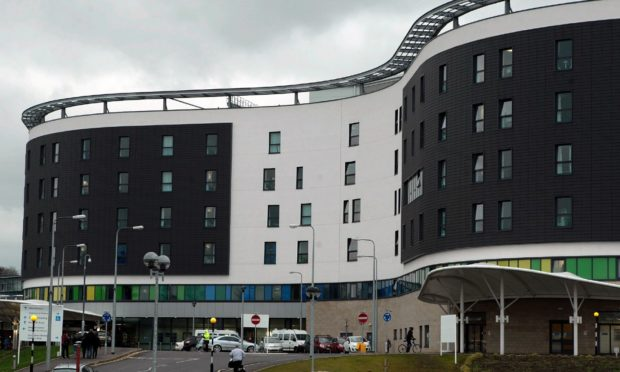 The exterior of NHS Fife Victoria Hospital in Kirkcaldy, Fife during Covid