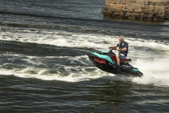A jet-skier at Broughty Ferry harbour