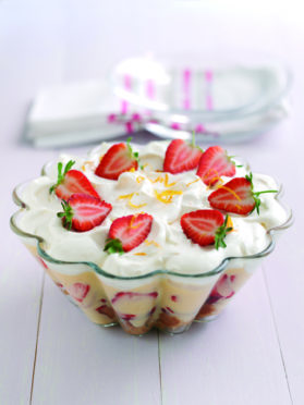 Strawberry trifle with Pimms.