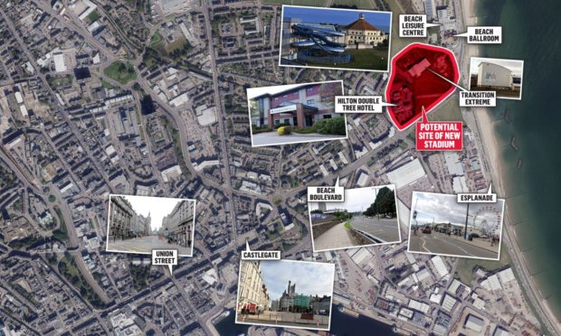 Map identifying areas of council proposals for the city centre and beach masterplan.