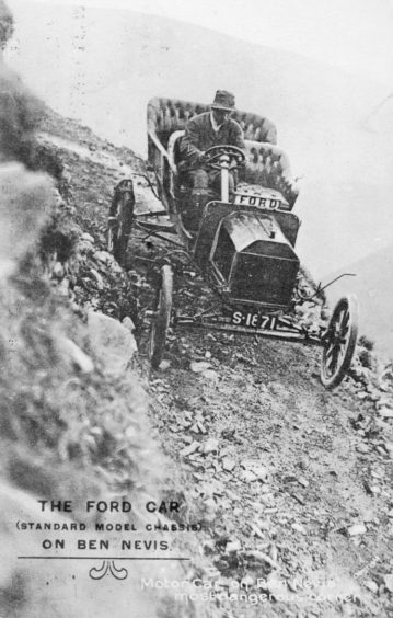 A Ford being driven down Ben Nevis.