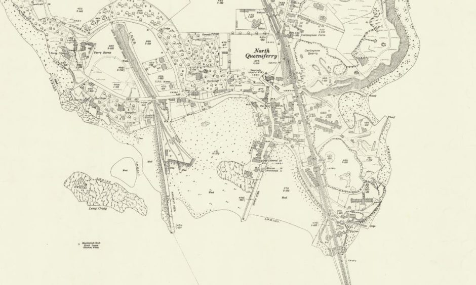 A map of Inverkeithing published in 1927. The Ferry Barns area can be seen in the top left of the image and the Forth Bridge in the bottom right.